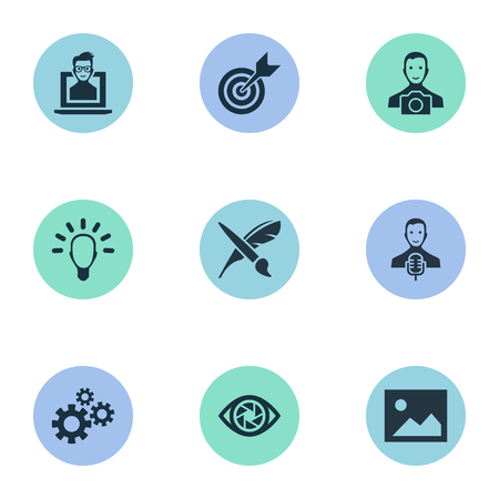 Vector Illustration Set Of Simple Creative Thinking Icons. Elements Performance, Accuracy, Gears And Other Synonyms Aim, Developer And Clever. Illustration