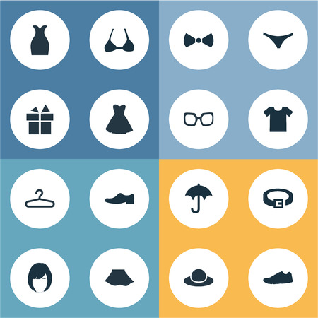 brolly: Vector Illustration Set Of Simple Dress Icons. Elements Elegant Headgear, Attire, Rack And Other Synonyms Optic, Hanger And Skirt.