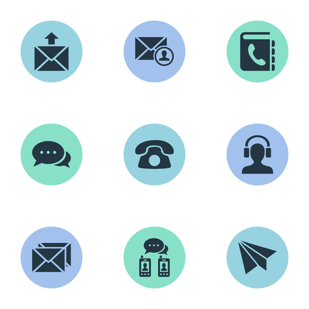 telephone icons: Vector Illustration Set Of Simple Communication Icons. Elements Postage, Telephone Directory, Telephone And Other Synonyms Mail, Message And Envelope. Illustration