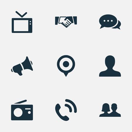 Illustration vectorielle définie des icônes de transmission simple. Elements Talking, Walkie, Megaphone et autres synonymes, haut-parleur, position et Fm Banque d'images - 74296391