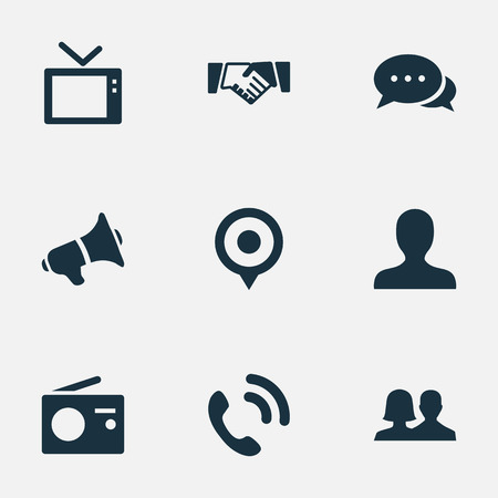 Vector Illustration Set Of Simple Transmission Icons. Elements Talking, Walkie, Megaphone And Other Synonyms Loudspeaker, Location And Fm.