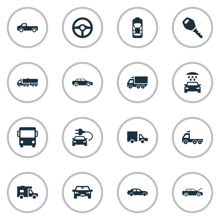 Vector Illustration Set Of Simple Auto Icons. Elements Repairing Service, Haulage, Driving And Other Synonyms Haulage, Race And Shipment.