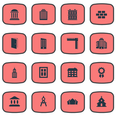 domicile: Vector Illustration Set Of Simple Construction Icons. Elements Stone, School, Academy And Other Synonyms Apartment, Domicile And Church. Illustration