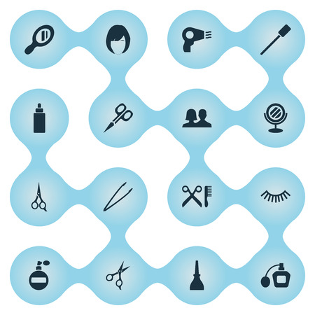 Vector Illustration Set Of Simple Spa Icons. Elements Scissors, Hairstyle, Nail Polish And Other Synonyms Manicure, Dry And Hair.