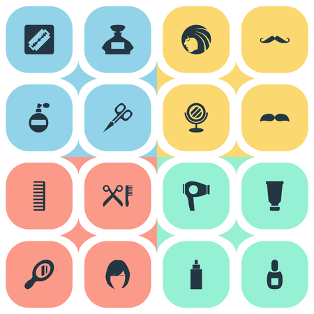 Vector Illustration Set Of Simple Hairdresser Icons. Elements Drying Machine, Flask, Cut Tool And Other Synonyms Looking-Glass, Hair And Perfume.