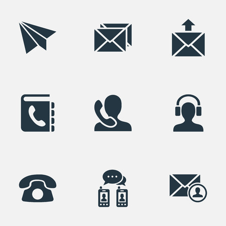 telephone icons: Vector Illustration Set Of Simple Connect Icons. Elements Postage, Epistle Author, Telephone And Other Synonyms Postage, Speaking And Mail.