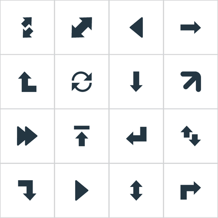 signing papers: Vector Illustration Set Of Simple Indicator Icons. Elements Down Up, Right Leading Arrow, Raise-Fall And Other Synonyms Ahead, Recycle And Vertical.