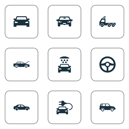 Vector Illustration Set Of Simple Automobile Icons. Elements Camion, Auto, Vehicle And Other Synonyms Fixing, Trucks And Electric.
