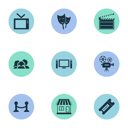 Vector Illustration Set Of Simple Film Icons. Elements Television, Grocery, Theatre And Other Synonyms Ticket, Board And Grocery. Illustration