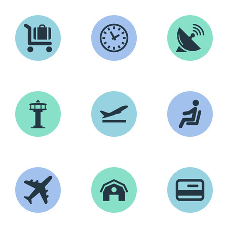 Vector Illustration Set Of Simple Travel Icons. Elements Plane, Credit Card, Watch And Other Synonyms Tower, Antenna And Watch.