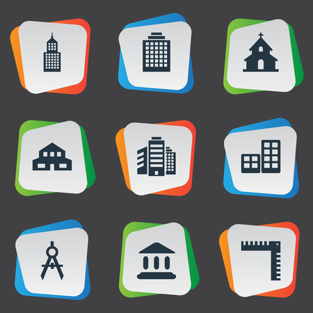 Vector Illustration Set Of Simple Architecture Icons. Elements Superstructure, Offices, Flat And Other Synonyms Apartment, Building And Edifice. Illustration