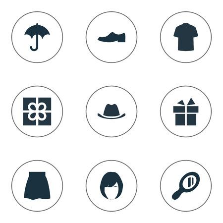 Vektor-Illustration Satz von einfachen Kleiderschrank Icons. Elements Man Kleidung, Eleganz, Rock und andere Synonyme Present, Shirt und Frisur. Standard-Bild - 74140839