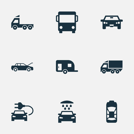 camion: Vector Illustration Set Of Simple Automobile Icons. Elements Caravan, Car Charging, Repair And Other Synonyms Motorcar, Electric And Repair.