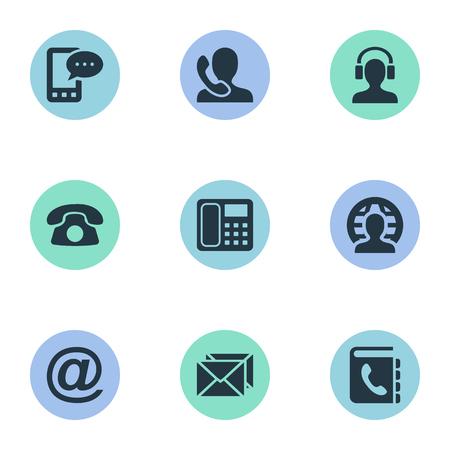 Vector Illustration Set Of Simple Connect Icons. Elements Earpiece, E-Mail Symbol, Postal And Other Synonyms Job, Calling And Message.