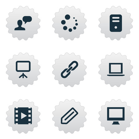 Vector illustration set of simple icons icons elements tag elements assessment laptop loading and other synonyms badge device and appliance malvernweather Images