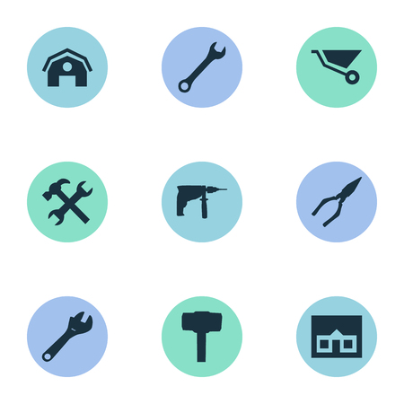 Vector Illustration Set Of Simple Wrench Icons. Elements Spanner, Carpentry Equipment, Workshop And Other Synonyms Hangar, Screwdriver And Electric. Illustration