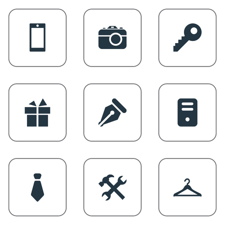 Vector illustration set of simple accessories icons.
