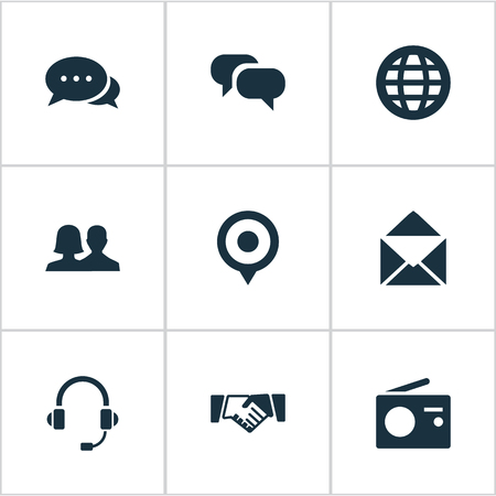 Vector Illustration Set Of Simple Transmission Icons. Elements Conversation, Partnership, Letter And Other Synonyms Microphone, Conference And Friendship.