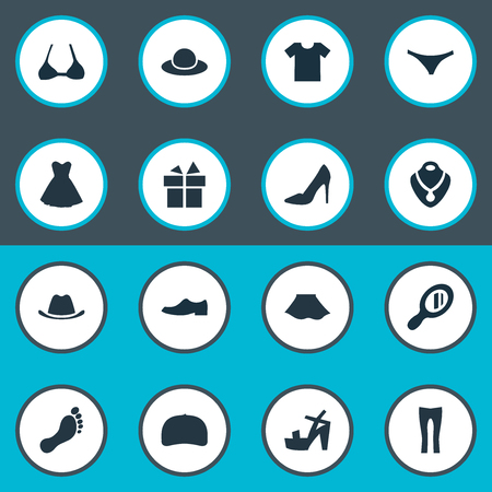 Vector Illustration Set Of Simple Clothes Icons. Elements Elegant Headgear, Brasserie, Footwear And Other Synonyms Stand, Pants And Foot. Çizim