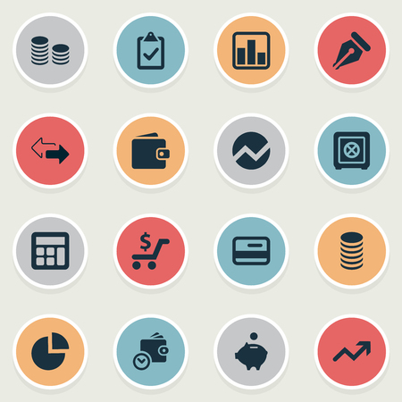 Vector Illustration Set Of Simple Investment Icons. Elements Calculator, Supervision List, Credit Card And Other Synonyms Wallet, Separation And Math.