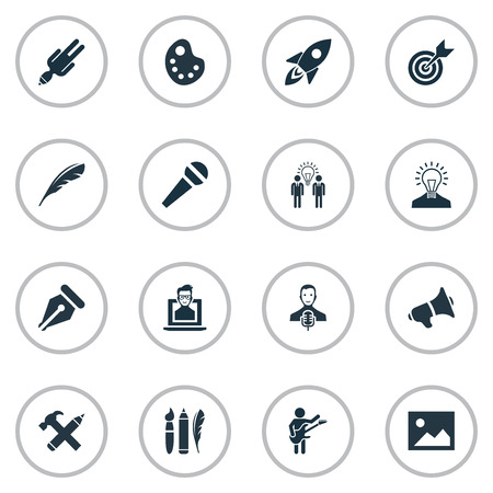 apathy: Vector Illustration Set Of Simple Visual Art Icons. Elements Writing Tool, Apathy, Creative And Other Synonyms Microphone, Tool And Photo.