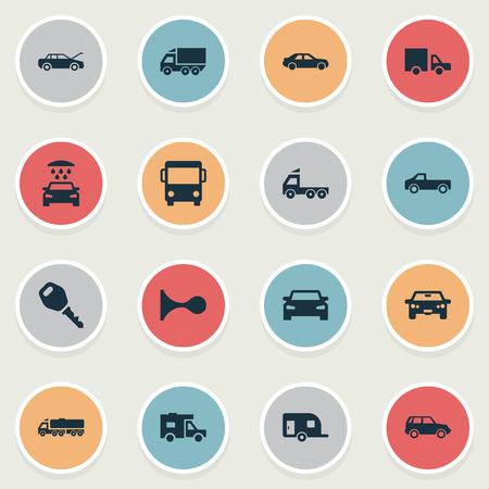 Vector Illustration Set Of Simple Car Icons. Elements Caravan, Transport Cleaning, Van And Other Synonyms Automobile, Truck And Haulage.
