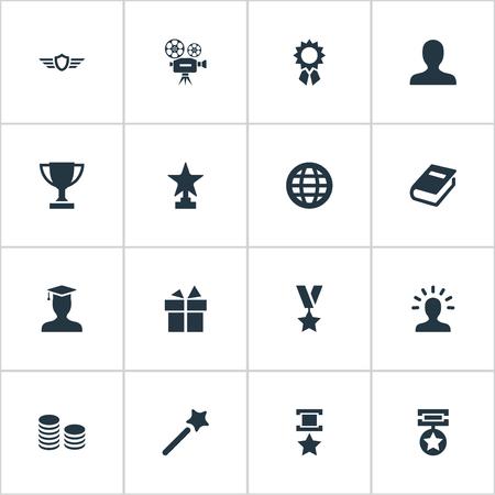 Vector illustration set of simple achievement icons.