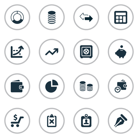 Vector Illustration Set Of Simple Investment Icons. Elements Piggy Bank, Nib, Two Directions And Other Synonyms Billfold, Cross And Safety.