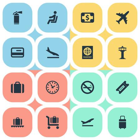 벡터 일러스트 레이 션 간단한 비행기 아이콘의 집합입니다. 요소 보호 도구, 쿠폰, 여행 가방 및 기타 동의어 비행, 통화 및 플라스틱.