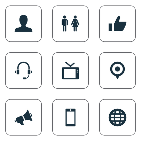 Vector Illustration Set Of Simple Network Icons. Elements Smartphone, Telly, World And Other Synonyms Contact, Couple And Headphone. Ilustração