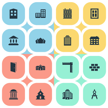 residency: Vector Illustration Set Of Simple Construction Icons. Elements Engineer Tool, Offices, Booth And Other Synonyms Shelter, Church And Religious. Illustration