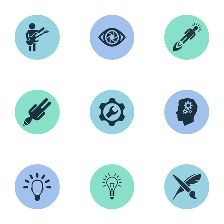 Vector Illustration Set Of Simple Visual Art Icons. Elements Lightbulb, Technology, Contemplation And Other Synonyms Success, Depression And Brush.
