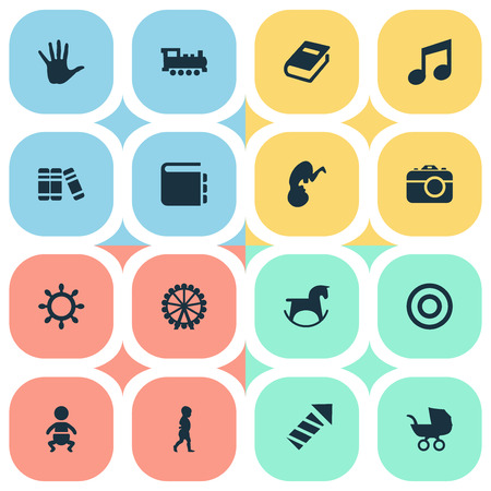 Vector Illustration Set Of Simple Baby Icons. Elements Board, Ferris Wheel, Textbook And Other Synonyms Horse, Dictionary And Pram.