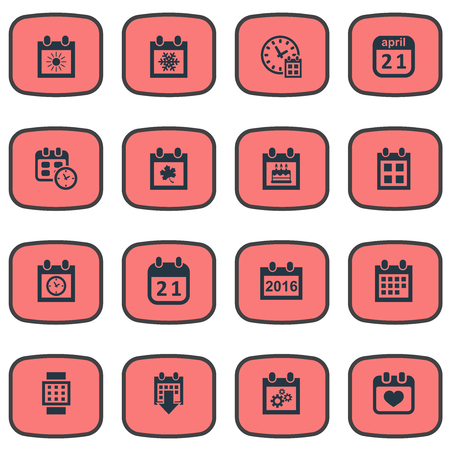 almanac: Vector Illustration Set Of Simple Time Icons. Elements Agenda, Deadline, Planner And Other Synonyms Day, Almanac And Planner.