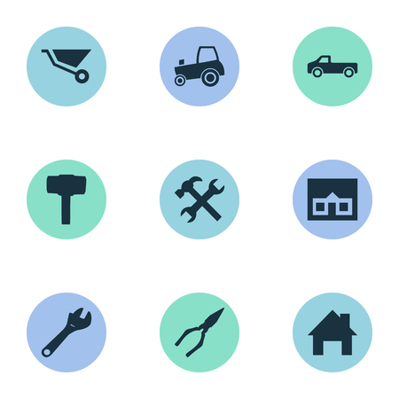 Vector Illustration Set Of Simple Build Icons. Elements Cart, Transportation, Pliers And Other Synonyms Adjustable, Clipping And House. Illustration