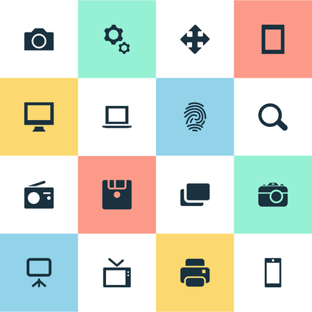 Vector Illustration Set Of Simple Digital Icons. Elements Laptop, Monitor, Layout And Other Synonyms Laptop, Mobile And Computer.