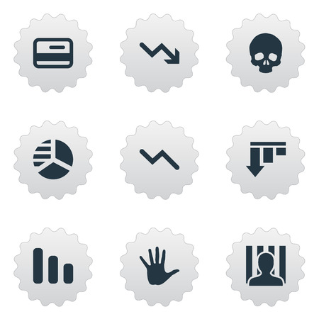 jailer: Vector Illustration Set Of Simple Trouble Icons. Elements Downward, Bar Graph, Palm And Other Synonyms Round, Chart And Decreasing. Illustration