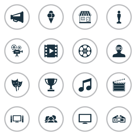 Vector Illustration Set Of Simple Movie Icons. Elements Music Note, Family, Video Camera And Other Synonyms Megaphone, Oscar And Clapper.