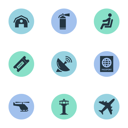 Vector Illustration Set Of Simple Travel Icons. Elements Air Transport, Plane, Flight Control Tower And Other Synonyms Plane, Tower And Citizenship.