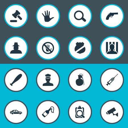 Vector Illustration Set Of Simple Crime Icons. Elements Bottle, Vaccine, Touch Forbidden And Other Synonyms Volunteer, Baseball And Judicial.