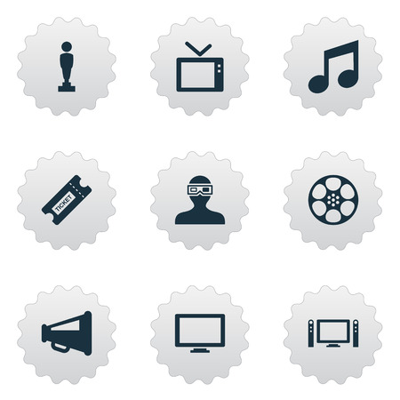 Vector Illustration Set Of Simple Film Icons. Elements Oscar, Spectator, Megaphone And Other Synonyms Cinema, Loudspeaker And Tv.