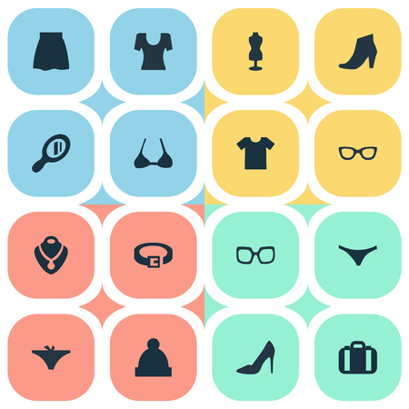 Vector Illustration Set Of Simple Garments Icons. Elements Footwear, Skirt, Panties And Other Synonyms Bra, Lingerie And Hanger.