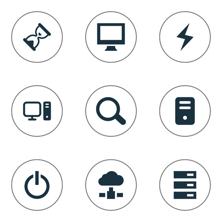 Vector Illustration Set Of Simple Computer Icons. Elements Memory, System Unit, Data Center And Other Synonyms Power, Screen And Magnifier.