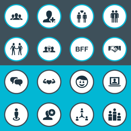 intercommunication: Vector Illustration Set Of Simple Buddies Icons. Elements Add Friend, Unity, Cooperation And Other Synonyms Group, Lover And Winner.