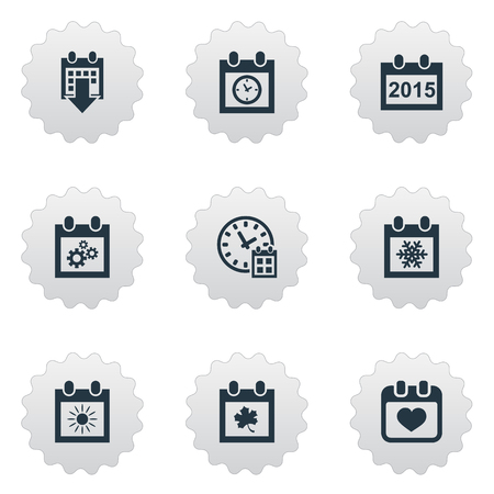 almanac: Vector Illustration Set Of Simple Plan Icons. Elements Annual, Heart, Snowflake And Other Synonyms Agenda, Sun And Almanac.