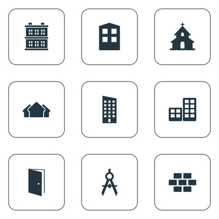 Vector Illustration Set Of Simple Construction Icons. Elements Floor, Block, Engineer Tool And Other Synonyms Flat, Block And Shanty.