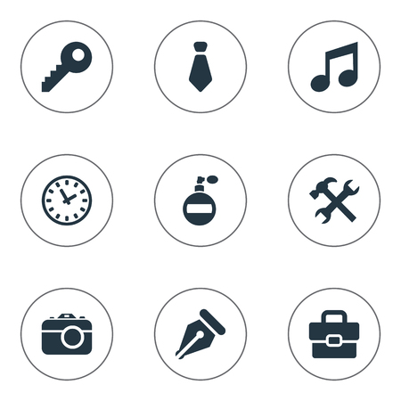 Vector Illustration Set Of Simple Accessories Icons. Elements Digital Camera, Cravat, Business Bag And Other Synonyms Cravat, Necktie And Deodorant. Illustration