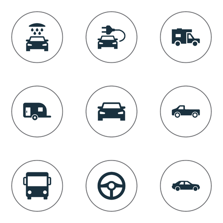 Vector Illustration Set Of Simple Automobile Icons. Elements Car Charging, Transport Cleaning, Van And Other Synonyms Auto, Trailer And Shower.