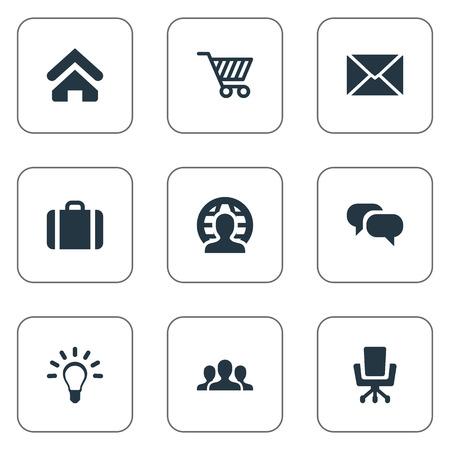 벡터 일러스트 레이 션 간단한 비즈니스 아이콘의 집합입니다. 요소 채팅, 핸드백, 작업 좌석 동의어 말하기, 아이디어 및 그룹.