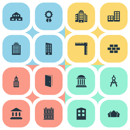 Vector Illustration Set Of Simple Construction Icons. Elements Stone, Reward, Academy And Other Synonyms Offices, House And Architecture.